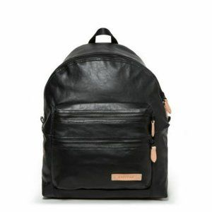 NEW Eastpak Padded Pak'r Black Leather Backpack